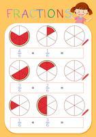 Een werkblad met wiskundige breuken