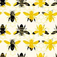 Patrón geométrico inconsútil con la abeja Diseño moderno de miel abstracta.