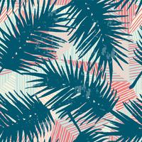 Seamless exotic pattern with tropical palm leaves on geometric background.