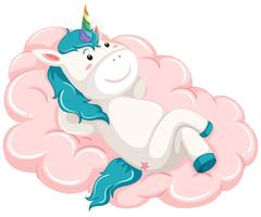 Unicorn lay on the cloud