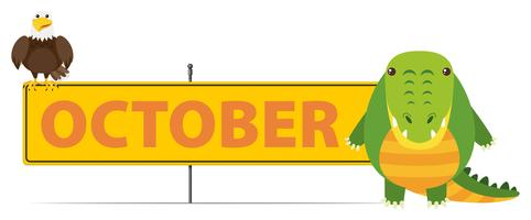 Sign template for October with crocodile