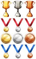 Different sport trophies and medals