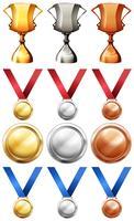 Troféus desportivos e medalhas diferentes