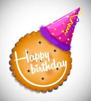 Modelo de cartão de feliz aniversário com biscoito e chapéu