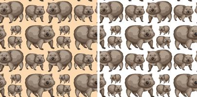 Seamless background design with wombats