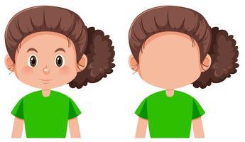 Set av brunett tjej karaktär