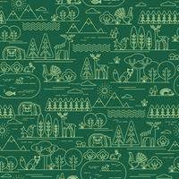 Vector seamless pattern with forest flora and fauna.
