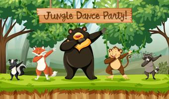 Animaux de fête de danse de la jungle