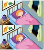 Un conjunto de niña durmiendo