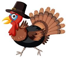 Thanksgiving turkey with hat vector