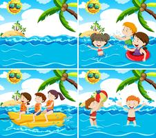 Set of various beach scene