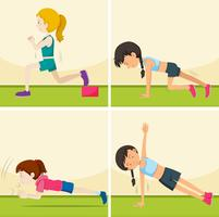 Conjunto de chicas haciendo ejercicios. vector
