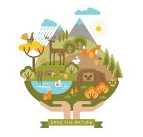 Vektor illustration av skydd naturen.