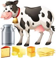 Cow and dairy products vector