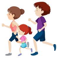 Een familie die samen rennen
