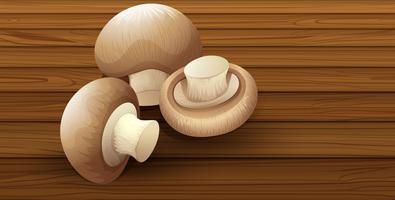 Seta comestible sobre fondo de madera