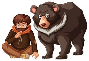 Hombre y oso grizzly sobre fondo blanco
