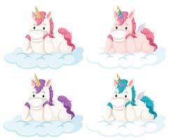 Set of unicorn on cloud
