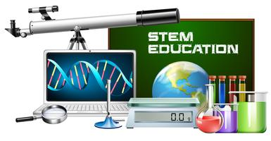 Set of technology object stem education vector