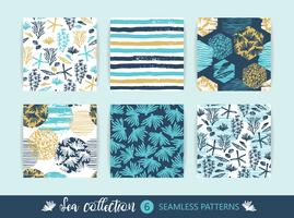Set Trendy zee naadloze patronen met hand textuur en geometrische elementen