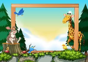 Wild animals on nature frame