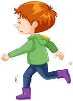Jongen met groen jasje en paarse laarzen