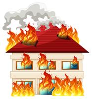 Isolated house on fire vector