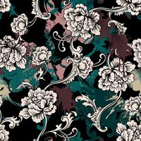 Eclectic seamless pattern with spray paint and Baroque ornament.