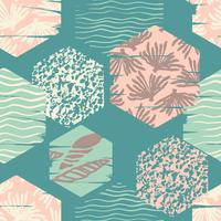 Trendy sea seamless pattern with hand texture and geometric elements