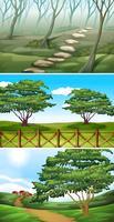 Scener med träd och kullar