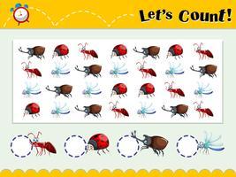 Spielvorlage mit Insekten zählen