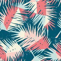 Naadloos exotisch patroon met tropische palmbladen op geometrische achtergrond.