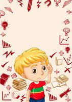 Border with boy and school objects background