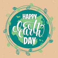 Earth Day concept with hand draw lettering.