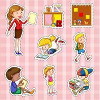Sticker met studenten en leraar wordt geplaatst die