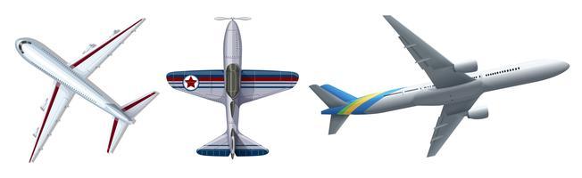 Três, diferente, aviões, branco