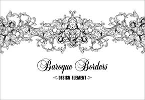 Ornamental border, frame. Baroque pattern. Vector seamless.