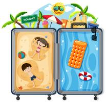 Kids on summer vacation suitcase