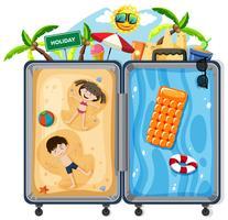 Niños en maleta de vacaciones de verano