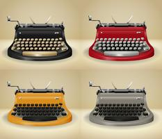 Retro typewriters on grunge background