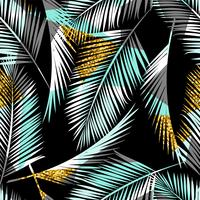 Seamless exotic pattern with palm leaf silhouettes. Gold glitter texture.