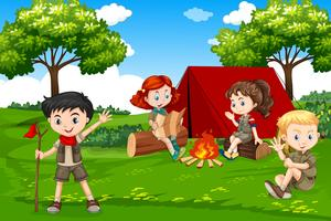 Children camping in nature