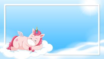 Unicorno che dorme sul bordo della nuvola