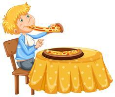Een man die pizza op witte achtergrond eet