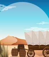 Wagon and barrels in desert field