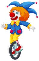 Färgglada clown som kör en cykel