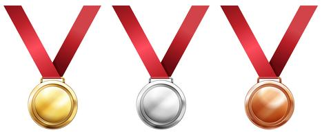 Sport medals with red ribbons vector