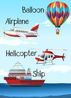Olika typer av flygplan och fartyg