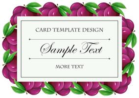 Card template with plum fruit
