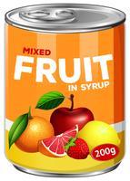 Una lata de frutas mixtas en almíbar